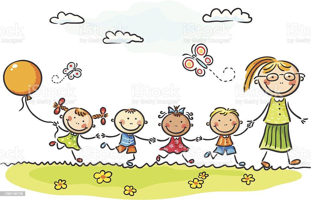 Bereits im Kindergarten – Vektorgrafik