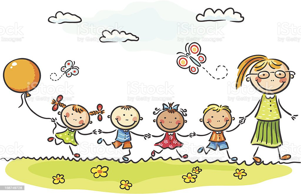 Kindergarten vector art illustration