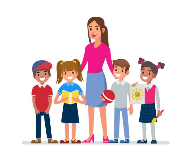 kindergarten kindergarten teacher with kids. Flat style vector illustration isolated on white background. preschool teacher stock illustrations