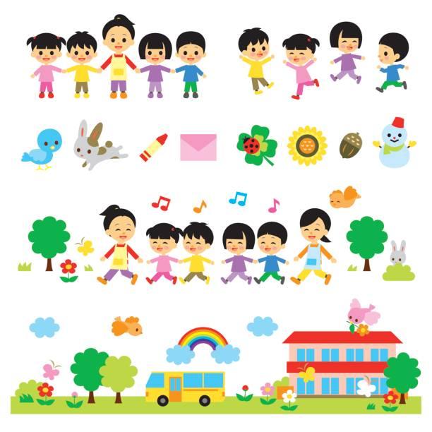幼稚園児と幼稚園教諭、保育園 - バス点のイラスト素材/クリップアート素材/マンガ素材/アイコン素材