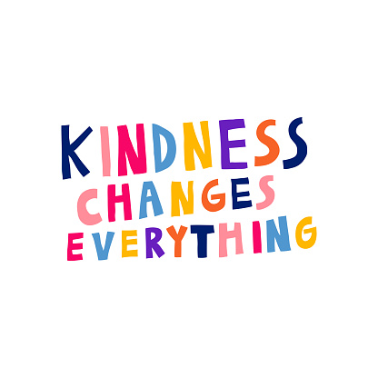 Kindness changes everything. Motivational sign. Multicolor letters.