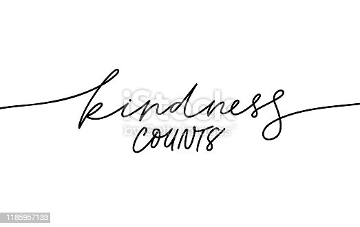 Kindness counts hand written monocolor lettering. Handwritten motivational phrase isolated line vector calligraphy. Charity fund poster, banner design element. Goodness significance concept