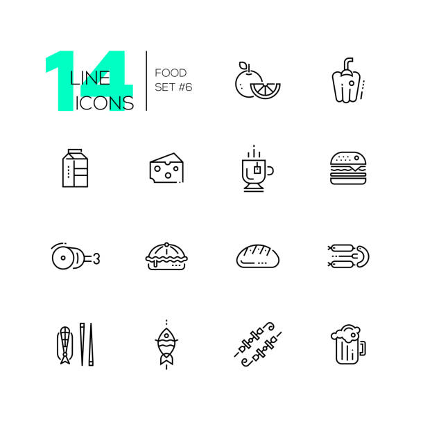 Kinds of Food Line Icons Set vector art illustration