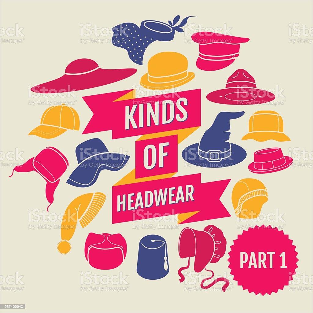 Kinds of headwear. Part 1 vector art illustration