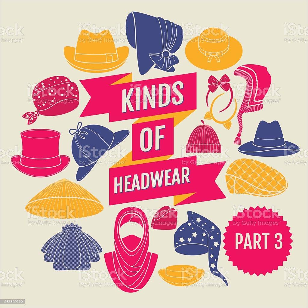 Types de chapeaux. 3 e partie - Illustration vectorielle