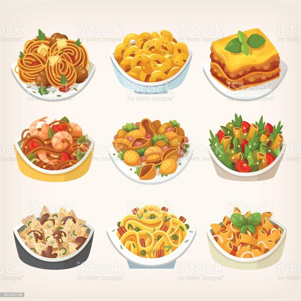 Kinds of pasta dishes vector art illustration