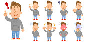 9 kinds of poses and gestures of the whole body of young people wearing parker