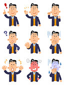 9 kinds of poses and gestures of  upper body of a man wearing a jacket