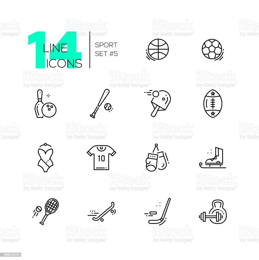 Kinds of Sport - line icons set vector art illustration