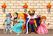 King and other fairytale characters illustration