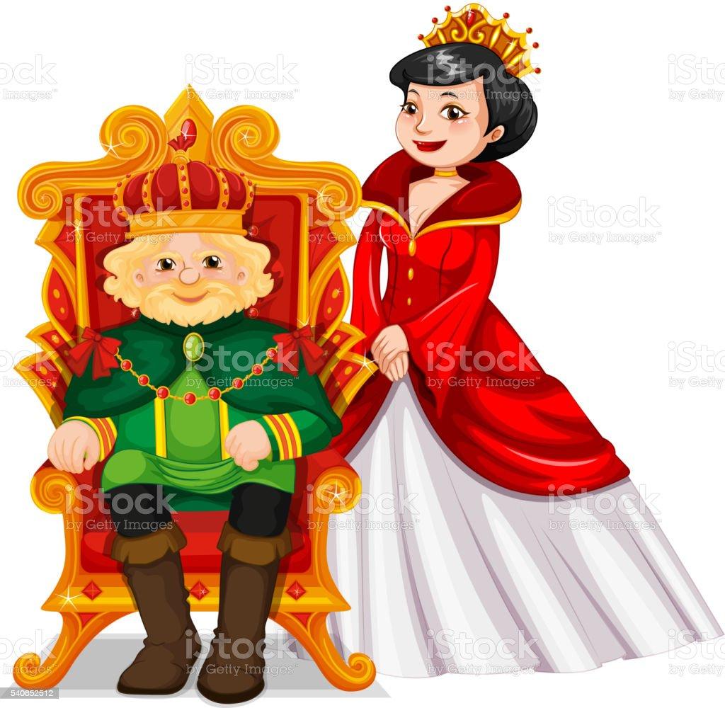 Ilustración de Cama Rey Y Una Cama Queen En El Trono y más banco de ...