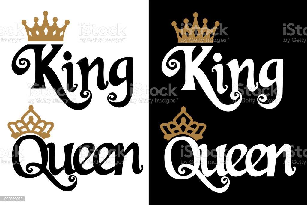 Ilustración De Rey Y Reina Diseño De La Pareja Texto Negro Y Corona