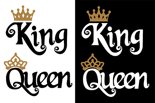 King and queen - couple design. Black text and gold crown isolated on white background.