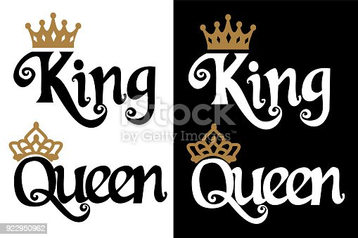 istock King and queen - couple design. Black text and gold crown isolated on white background. 922950962