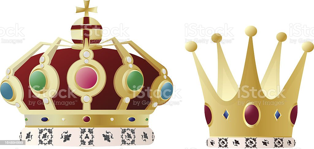 King and queen crown royalty-free stock vector art