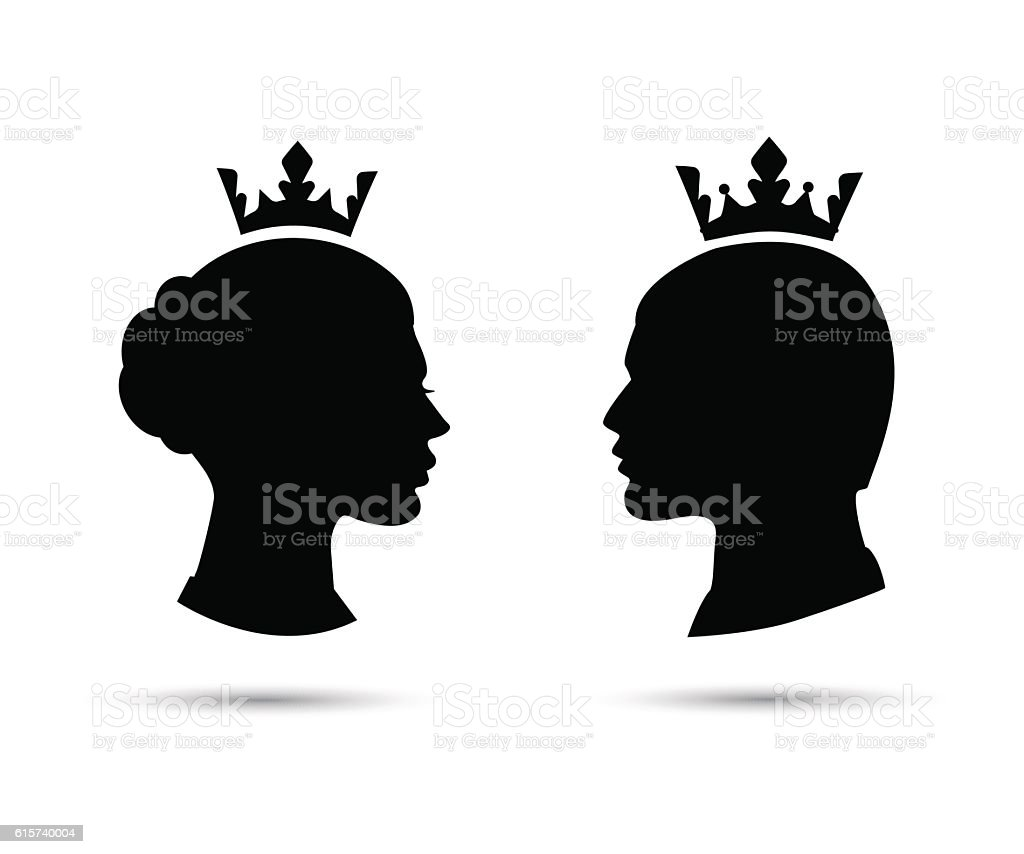 king and queen heads vector silhouette vector art illustration