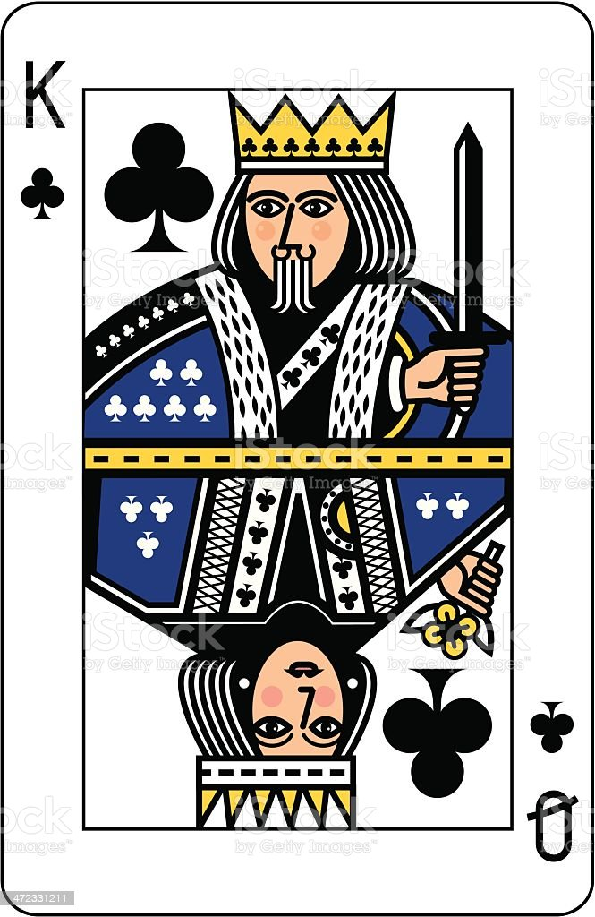 King and Queen of Clubs Playing Card vector art illustration