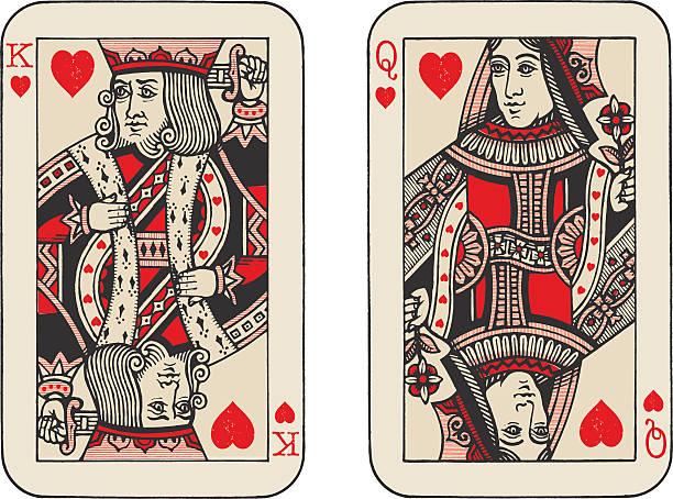 king and queen of hearts illustration - kartenspielen stock-grafiken, -clipart, -cartoons und -symbole