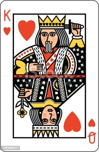 A playing card showing a King and a Queen of Hearts.