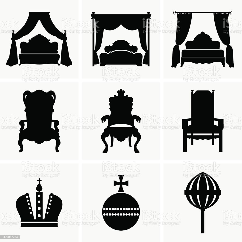 King beds and thrones vector art illustration