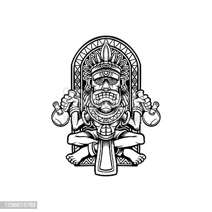 istock King Bong Weed Hawaiian Tiki Sclupture illustrations for your work symbol, mascot merchandise t-shirt, stickers and Label designs, poster, greeting cards advertising business company or brands. 1296615763