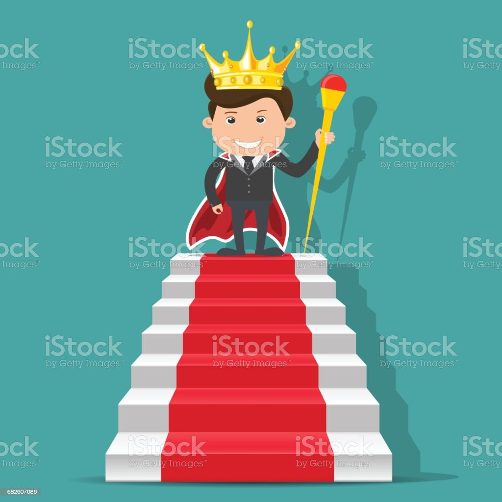 King businessman standing on the stair. - vector illustration vector art illustration
