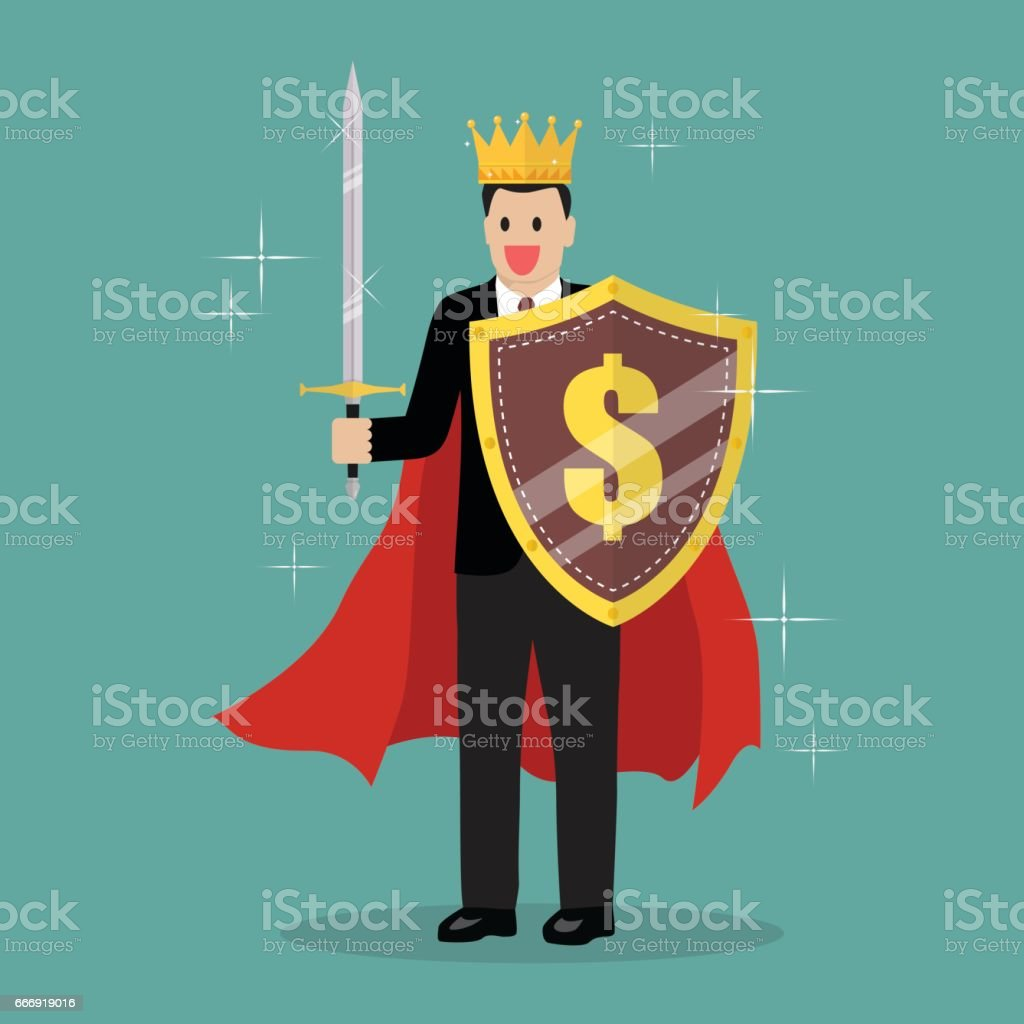 King businessman with shield and sword vector art illustration