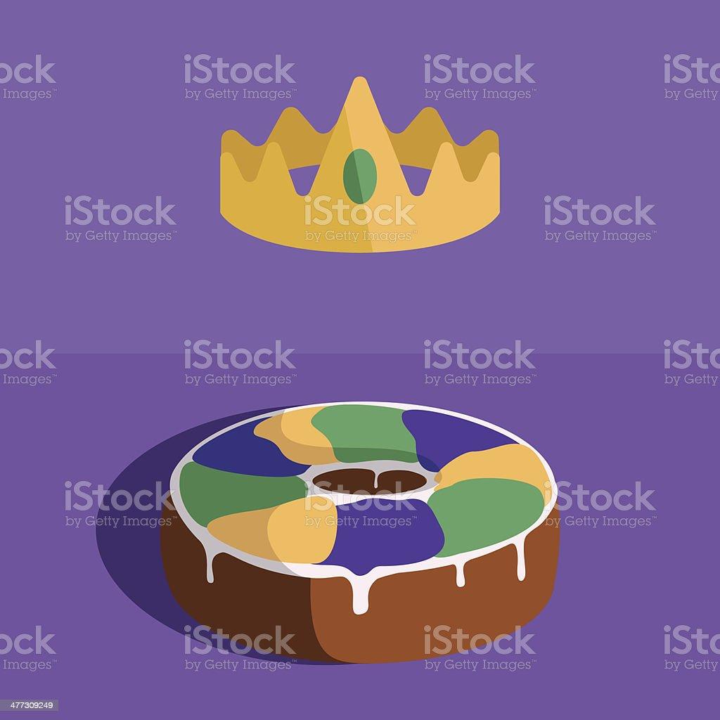 Rei Bolo e a coroa do pão - Royalty-free Amarelo arte vetorial