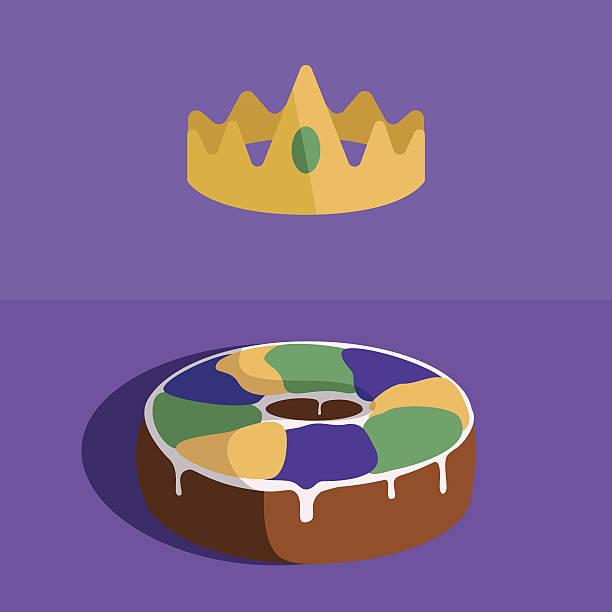illustrations, cliparts, dessins animés et icônes de couronne et gâteau avec très grand lit - galette des rois