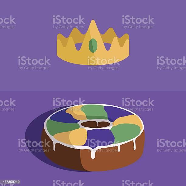 Rei Bolo E A Coroa Do Pão - Arte vetorial de stock e mais imagens de Amarelo