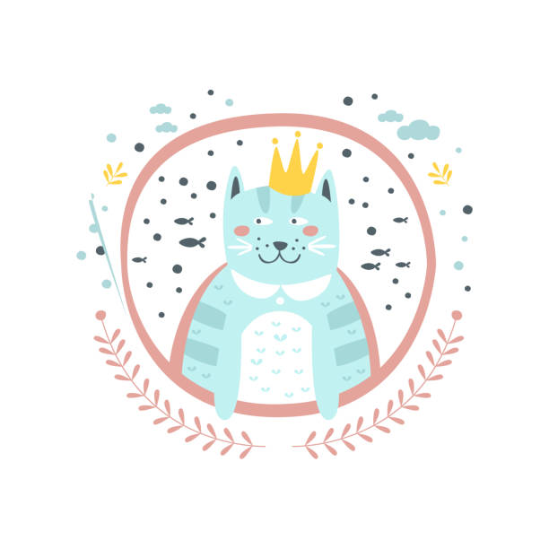 king cat fairy tale character girly sticker in round frame - larry king stock illustrations