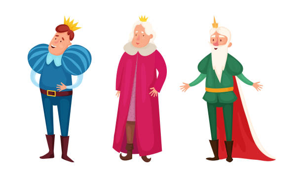 King characters in special costumes and golden crowns vector illustration Set of isolated hand drawn cute king characters in special costumes and golden crowns over white background vector illustration. Illustration for children books and cartoons concept diademe stock illustrations