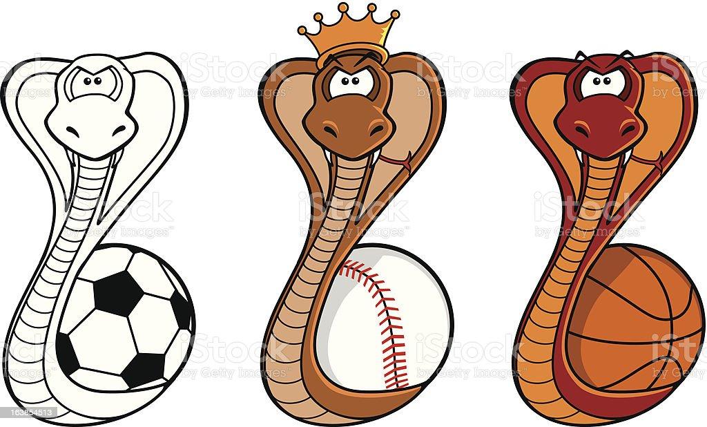 King Cobra Sports Mascot royalty-free stock vector art