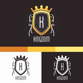 King Crest Ornament Template. Vector Elements. Brand Icon Design Illustration