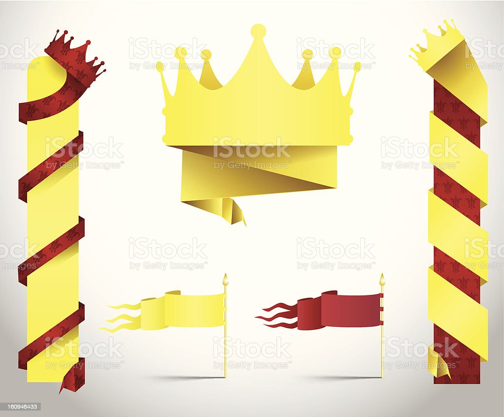 King crown banners in paper folded style royalty-free stock vector art