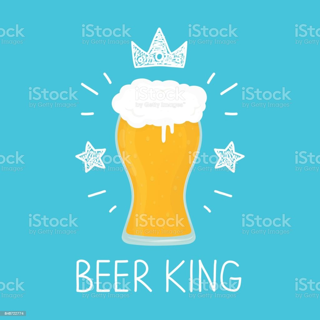 King glass of beer. vector cartoon flat and vector art illustration