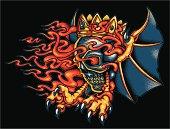 heraldic flying skull illustration