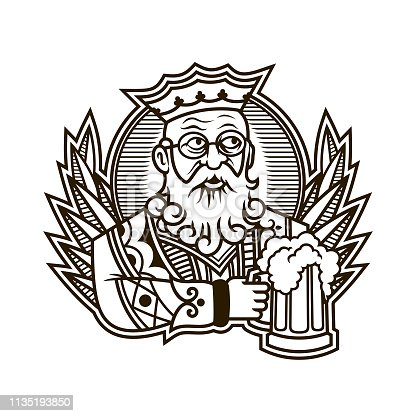 King of clubs holding a beer mug - vector illustration of king character in playing cards