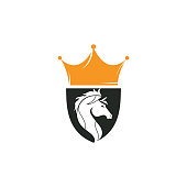 Horse in Shield with Crown icon logo concept.