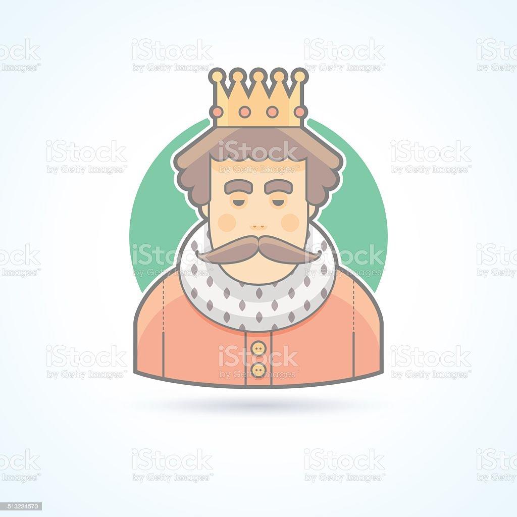 Ilustración de Cama Rey En Una Corona Icono De Persona De La Realeza ...