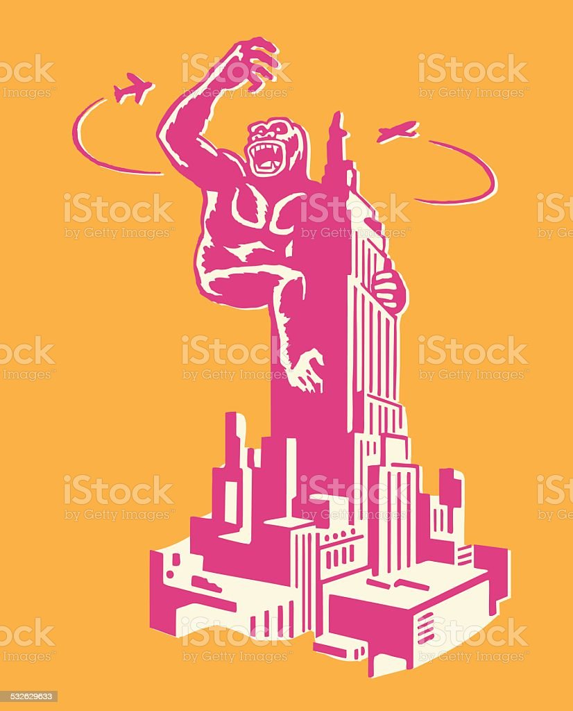 King Kong on Empire State Building vector art illustration