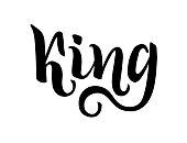 king lettering hand drawing. Written word, isolated on a white