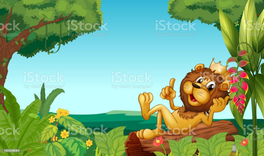 king lion in the forest royalty-free stock vector art