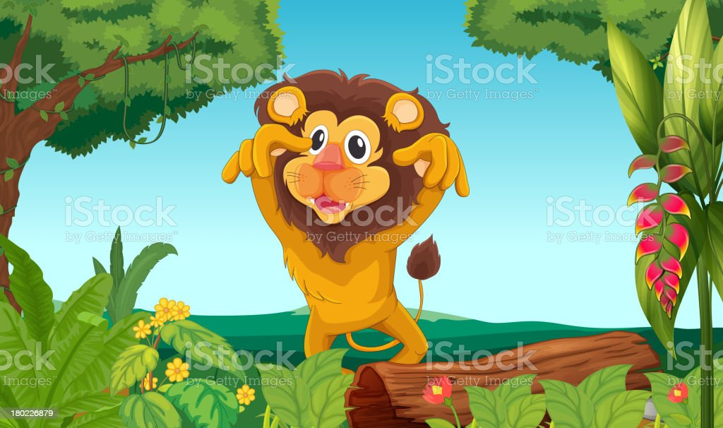 King lion in the woods royalty-free stock vector art