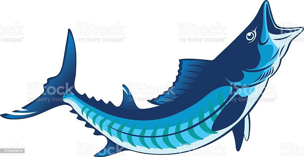 king mackerel stock vector art more images of atlantic ocean rh istockphoto com Puffer Fish Clip Art Nautical Clip Art