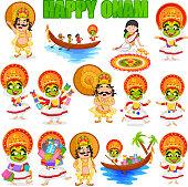King Mahabali for Onam festival, India in vector
