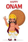 King Mahabali. Happy Onam festival in Kerala. Vector illustration.