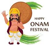 King Mahabali. Happy Onam festival in Kerala. Vector illustration on white background
