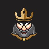 king athletic club vector logo concept isolated on white background. Modern sport team mascot badge design. E-sports team logo template with king vector illustration