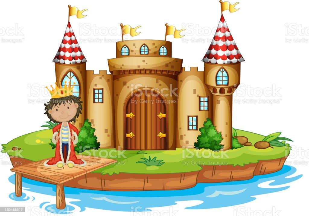 King near the castle vector art illustration